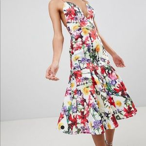 Premium Floral Drop Waist Scuba Dress (Multicolor)
